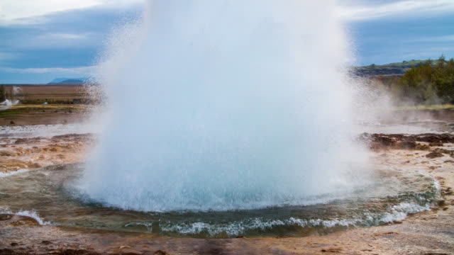strokkur geysir eruption, golden circle, iceland - slow motion - geyser stock videos and b-roll footage