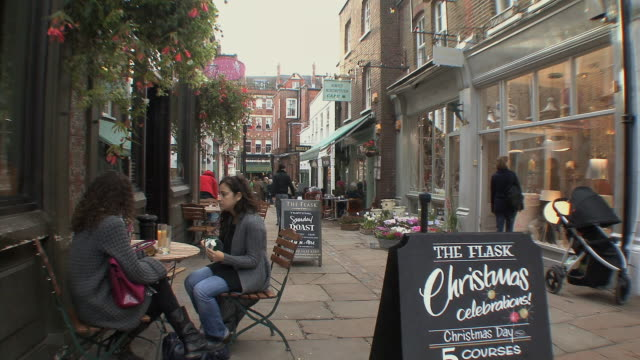 ws strollers and shoppers on flask walk in hampstead / london, uk.  - three wheeled pushchair stock videos & royalty-free footage