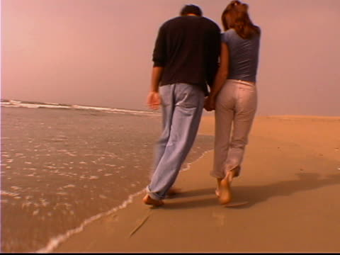 strolling by the shore - gemeinsam gehen stock-videos und b-roll-filmmaterial