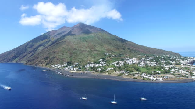 stromboli by drone - sicily stock videos and b-roll footage