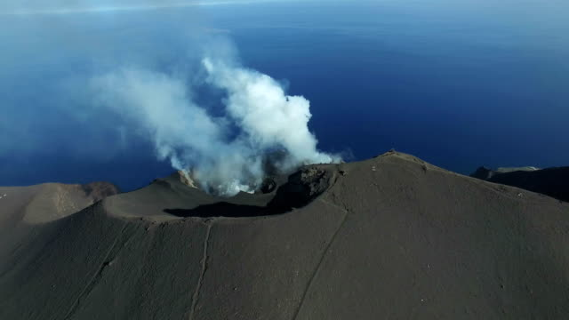 stromboli by drone - erupting stock videos & royalty-free footage