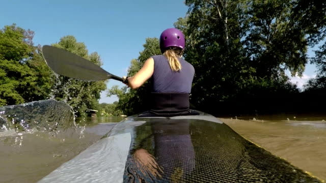 strong and healthy sport woman concept,kayak - using a paddle stock videos & royalty-free footage