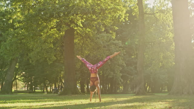 ms strong, athletic young woman practicing yoga handstand in sunny, idyllic park - upside down stock videos & royalty-free footage
