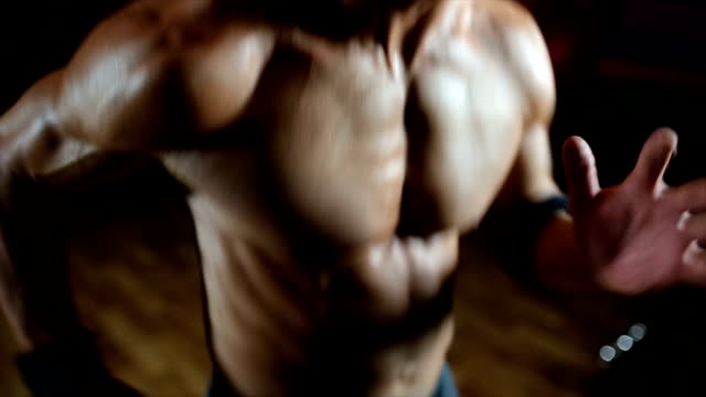 strong man jogging - chest torso stock videos & royalty-free footage