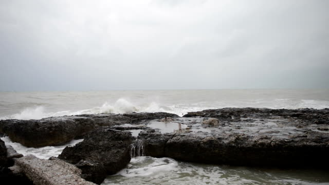 Strong waves on the rocky cost