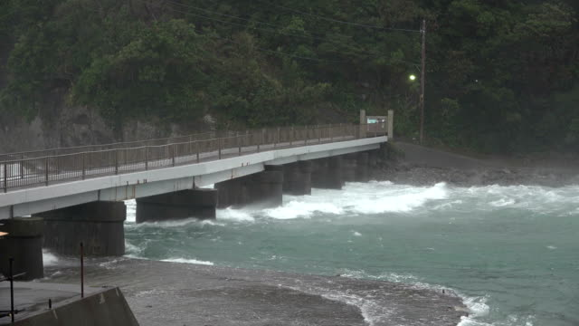 strong wind and dangerous currents hits coast of japan as typhoon hagibis makes landfall - torrential rain stock videos & royalty-free footage