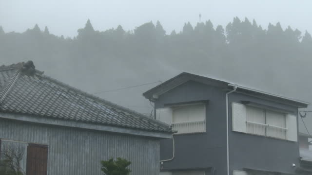 Strong wind and heavy rain lash houses as typhoon Noru makes landfall in Japan