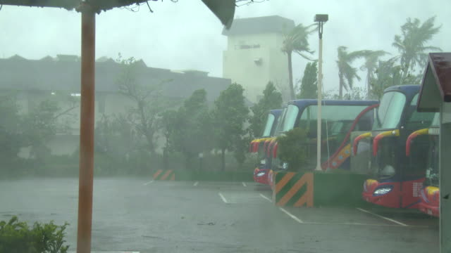 Strong wind and rain hit southern Taiwan on 14th September 2016 as super typhoon Meranti hits