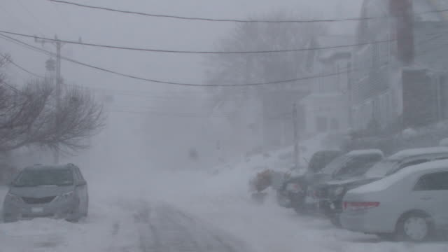 Strong winds and heavy snow combine to create near white out conditions on a residential street during a New England blizzard