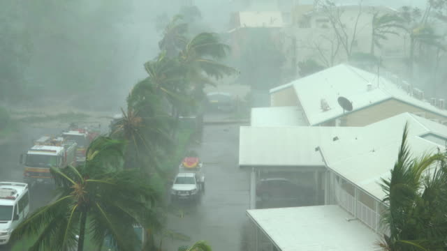 vídeos de stock e filmes b-roll de strong winds and torrential rain lash northern queensland as cyclone debbie makes landfall - acidentes e desastres