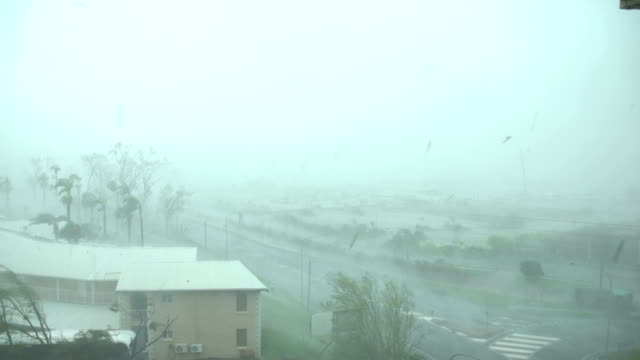 strong winds and torrential rain lash northern queensland as cyclone debbie makes landfall - cyclone stock videos & royalty-free footage