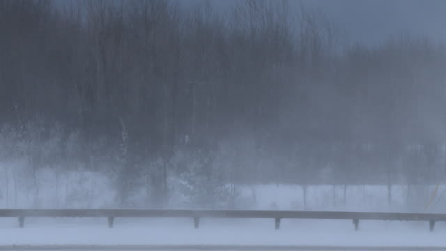 Strong winds blow snow around creating near whiteout conditions in Pulaski NY during an extreme lake effect snow event