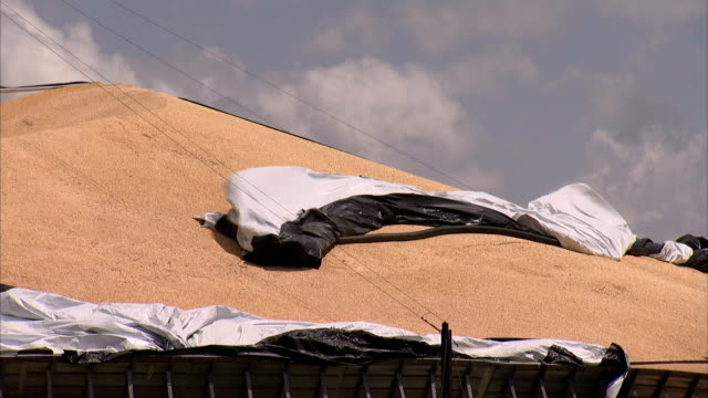 strong winds rustle tarps on a rooftop. - 防水シート点の映像素材/bロール