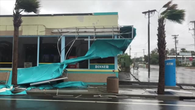 strong winds take their toll on myrtle beach in south carolina as hurricane florence wallops the us east coast and stalls over the carolinas... - carolina beach stock videos and b-roll footage
