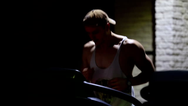 strong young men bodybuilder running in gym - barechested bare chested stock videos and b-roll footage