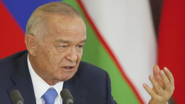 stockvideo's en b-roll-footage met strongman uzbek president islam karimov who has kept a stranglehold on power in the exsoviet state for over 25 years is in intensive care after... - bloedverlies