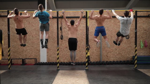 strongmen doing chin-ups on gymnastic bars in gym - bicep stock videos & royalty-free footage