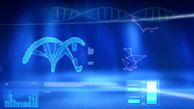 structure dna on the blue screen. - genetic research stock videos and b-roll footage