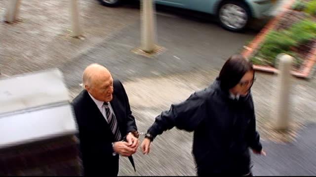 vídeos de stock, filmes e b-roll de stuart hall appears in court on new rape charges england preston preston magistrates court photography *** stuart hall lead from prison van to court... - algema