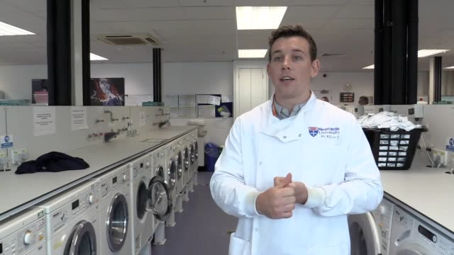 stockvideo's en b-roll-footage met phd student at newcastle university max kelly talks about his research that found using delicate washing cycles releases more microfibres from... - polyester