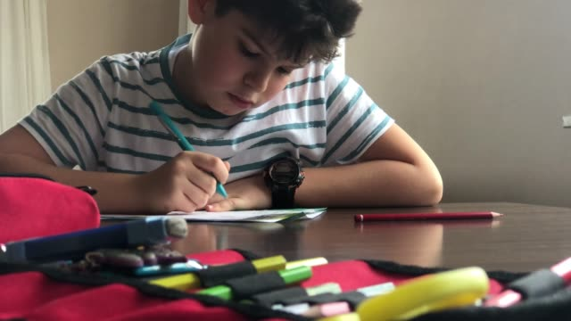 student boy writing to notebook at home - elementary age stock videos & royalty-free footage