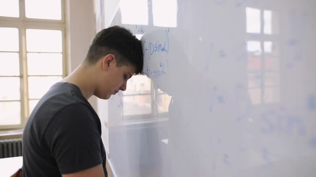 student can't solve math problem - secondary school child stock videos & royalty-free footage