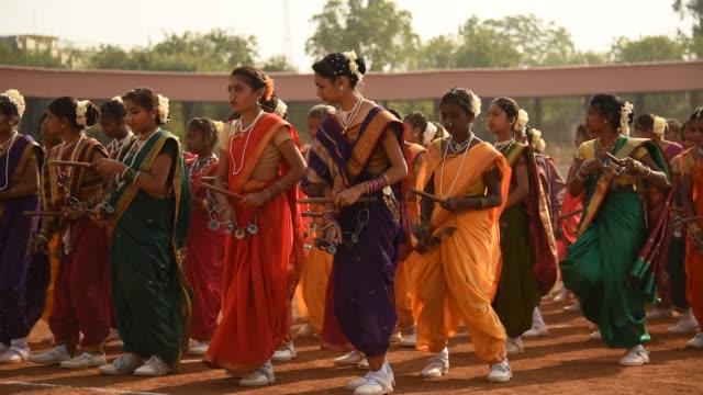 student celebrating the india republic day - sari stock videos & royalty-free footage