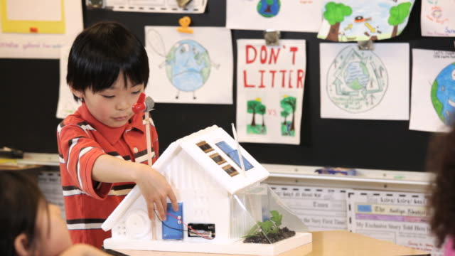 MS TU Student demonstrating solar house project to class / Richmond, Virginia, United States