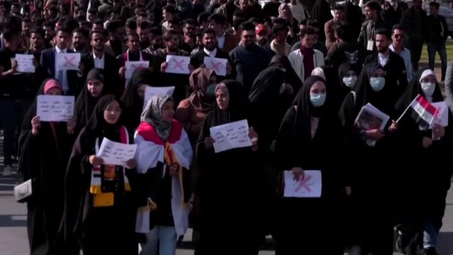 student demonstrations continue in the central iraqi holy shrine city of karbala to demand the ouster of the entire political class that has run the... - karbala stock videos & royalty-free footage