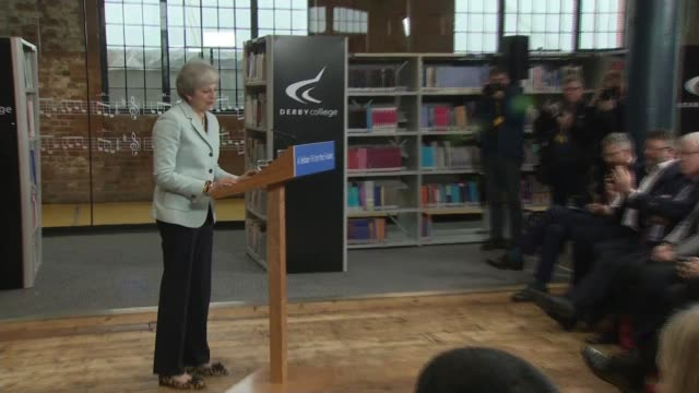 theresa may speech cutaways england derbyshire derby college int damian hinds mp speech cutaways sot theresa may mp speech cutaways sot - damian hinds stock videos and b-roll footage
