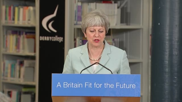 Theresa May speech ENGLAND Derby College INT Theresa May MP and Damian Hinds MP along Damian Hinds MP introductory speech SOT Theresa May MP speech...