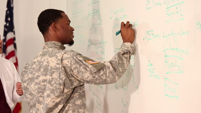 MS PAN Student in Military Uniform Writing Equations on Dry Erase Board in College Classroom, Teacher Assisting / Richmond, Virginia, USA