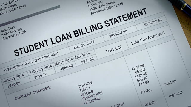 student loan past due statement and bill - student stock videos & royalty-free footage
