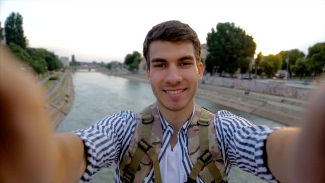 Student on the travel,selfie POV