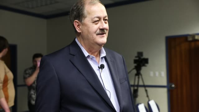 student protesters demonstrate against republican candidate for us senate don blankenship as he speaks at a town hall meeting at west virginia... - town hall meeting stock videos and b-roll footage