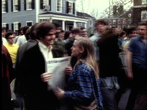 student protesters follow a makeshift marching band during the sit-in at harvard university in cambridge, massachusetts. - protestor stock videos & royalty-free footage