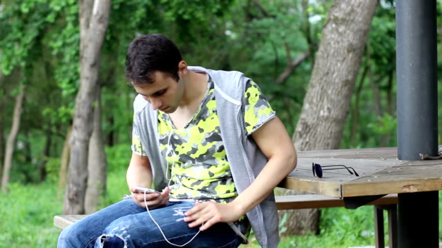 Student relaxing in the park