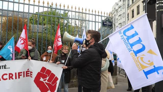 FRA: Student Protest In Paris Against