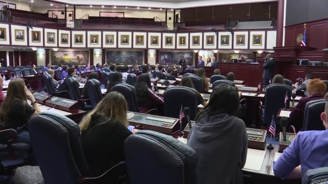 student survivors of the florida school shooting that saw 17 people killed in a hail of bullets last week descend on the state capital to ramp up the... - legislator stock videos & royalty-free footage