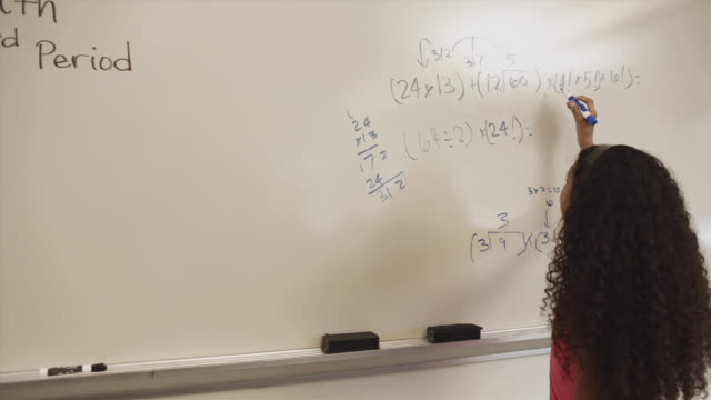 ms ds student working on math problem on whiteboard / edmonds, washington, usa - see other clips from this shoot 1750 stock videos and b-roll footage