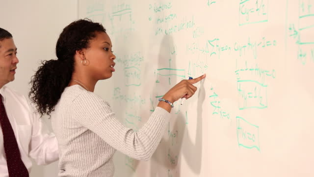 ms pan student  writing equations on dry erase board in college classroom, teacher assisting / richmond, virginia, usa - lecture hall stock videos & royalty-free footage