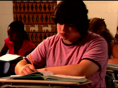 student writing in classroom - one teenage boy only stock videos & royalty-free footage