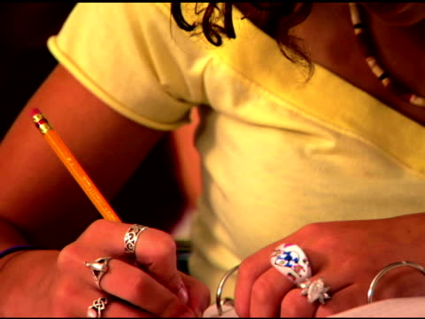 student writing in classroom - only teenage girls stock videos & royalty-free footage