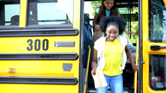 students and teacher exit school bus - 12 13 years stock videos & royalty-free footage