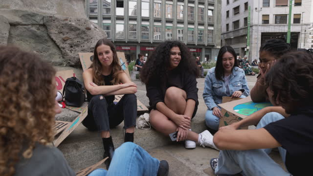 students and young people protesting for climate emergency - adolescence stock videos & royalty-free footage
