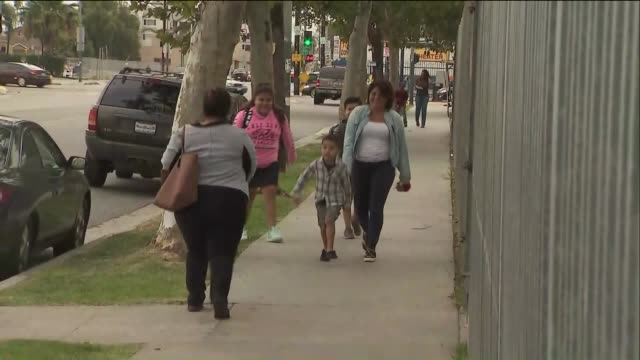 ktla students are greeted on the first day of school - back to school stock videos and b-roll footage