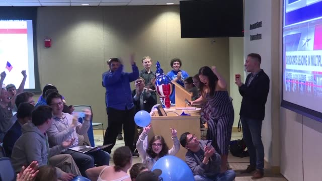students at american university react after the democrats managed to take control of the house of representatives while republicans held onto the... - midterm election stock videos & royalty-free footage