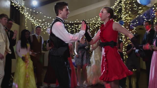 ms tu td pan students (12-18) dancing on prom night / cedar hills, utah, usa - salsa stock videos & royalty-free footage