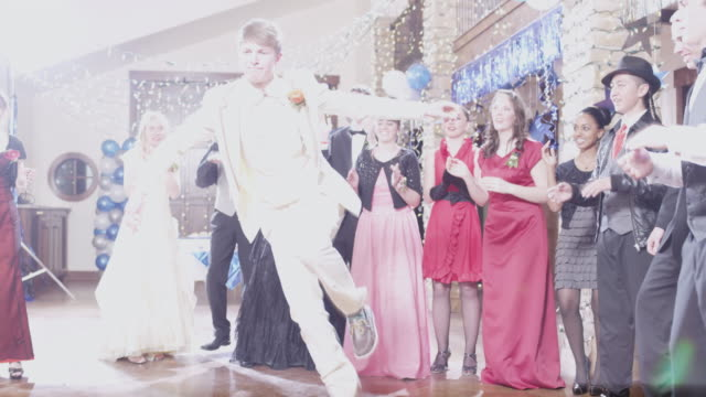 ws students (12-18) dancing on prom night / cedar hills, utah, usa - dance floor stock videos and b-roll footage
