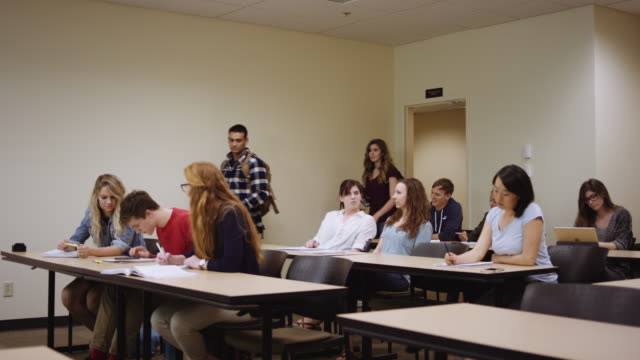 students entering classroom - lecture hall stock videos and b-roll footage